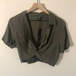 Wild Fable Button Down Crop top Olive NWT